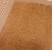 The same carpet with the green stain but it has been fully removed